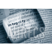 "A dictionary definition of ""integrity"" viewed through a glass prism"