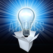 A glowing lightbulb rising up from an open box.