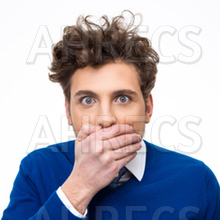 Portrait of a young man covering his mouth isolated on a white background