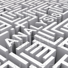 The word 'Analysis' seen in a complex 3d maze