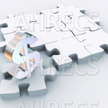 A 3D metallic dollar sign resting on a separated jigsaw piece from a large white jigsaw