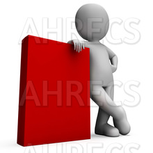 A 3D figure standing beside and leaning on the corner of a big red book
