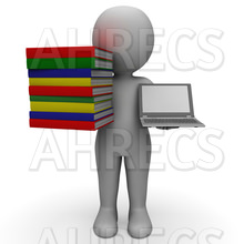 3d figure holding a stack o books and a laptop