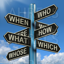 """Street sign post points out as directions the words, """"WHO, WHEN,M WHERE, WHAT, WHICH and WHOSE"""""""