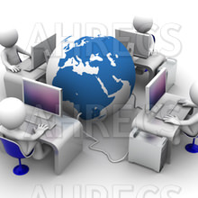 Four 3d figures site at computers on desks around a large 3d globe