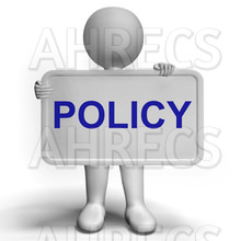 3d figure holing a sign that reads POLICY