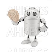 Robot holding a brain.