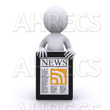 3d figure holding digital sign about online news