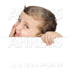 Kid laughing over a white card