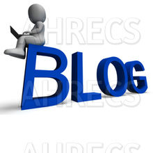 "A 3D figure sits with a laptop on the word ""BLOG"""