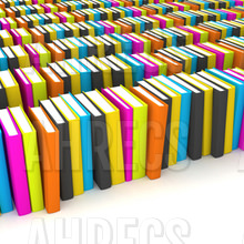 Rows of coloured books