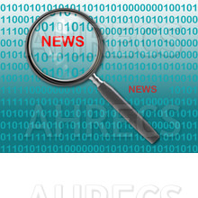 Computer code background with a magnifying on the words news