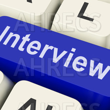 """The word """"Interview"""" on blue keyboard key"""
