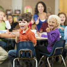 Kindergarten class kids and teacher