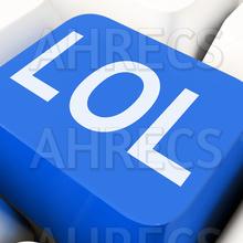 The letters LOL on a blue keyboard key