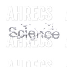 The word science on a plain background with molecule graphics