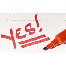 Yes written in red with marker en beside