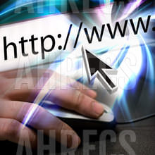 Montage of a mouse arrow pointing the the URL in the internet browser address bar and a hand using a mouse.