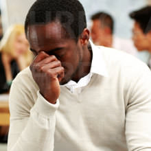 African American man tired/frustrated