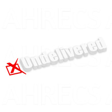 """The word """"Undelivered"""" with a drop shadow with a crossed box beside"""