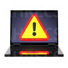 """A """"Caution"""" warning sign displayed on the screen of a 3D laptop"""