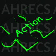 The word 'Action' on a glowing jigsaw puzzle piece