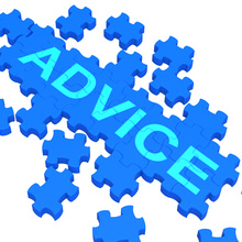 "Jigsaw on a white background bears the word ""ADVICE"" in big letter."