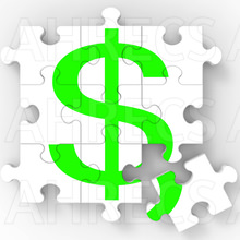 Dollar sign on a jigsaw puzzle