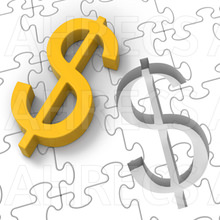 Gold dollar puzzle piece hits to slot into a large jigsaw puzzle