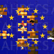 EU flag as a jigsaw with pieces to be added