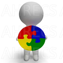 A 3d figure holding a large solved circular jigsaw puzzle