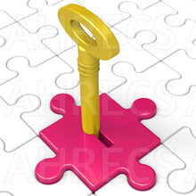Key In magenta lock in the ground that is solid white jigsaw.