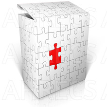 A cube made of a sheet of jigsaw puzzle pieces. The lid has been lifted and one last piece to slot in