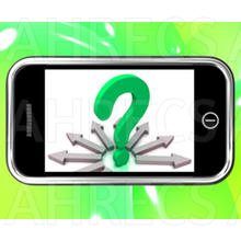 Question mark viewed on a smartphone with arrows point out in all directions