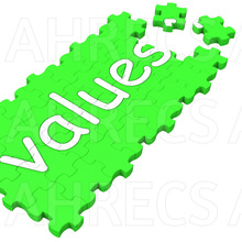 The word 'Values' written on a mostly assembled jigsaw puzzle