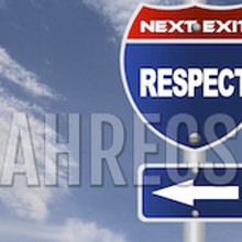 Road sign shows next exit is RESPECT