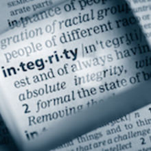 Dictionary entry for the word 'Integrity viewed through a lens