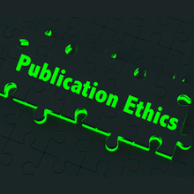 The words 'Publication Ethics' written across a glowing jigsaw puzzle piece