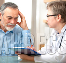 Researcher talking to a distressed senior aged male.