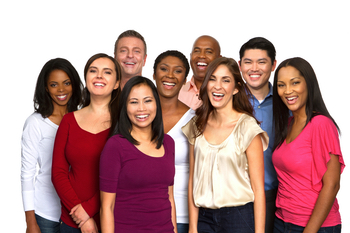A smiling group of multi-racial researchers