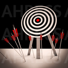 A group of arrows that have missed their target and struck the ground.