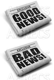 Two folded newspapers with the headlines 'GOOD NEWS!' and 'BAD NEWS!'
