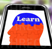 The word 'Learn' seen on brain on a smartphone screen