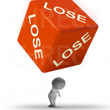 A 3d figure about to be crushed under a large red dice with the word 'LOSE' on every face