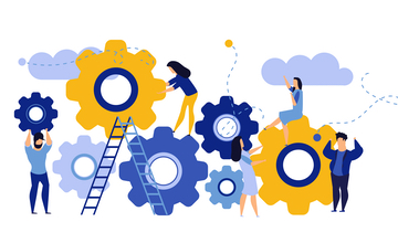 Cartoon picture of a group of people working on coloured cogs