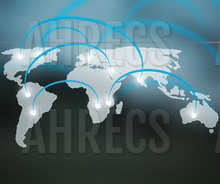 A world map with global hotspots marked with arks between them