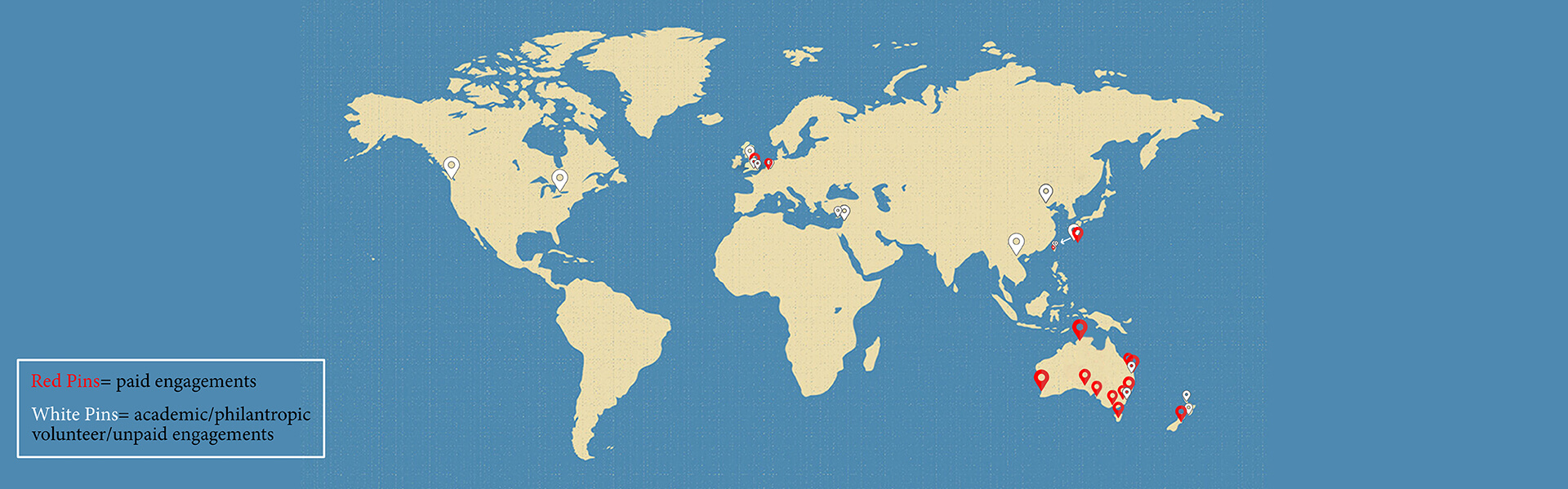 A graphic of the entire world map with pins of places where AHRECS has worked
