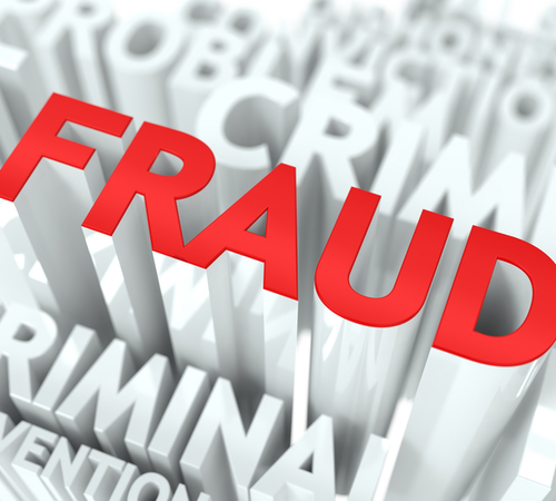 """The word """"FRAUD"""" in big. red and 3d letters amongst other smaller related words."""
