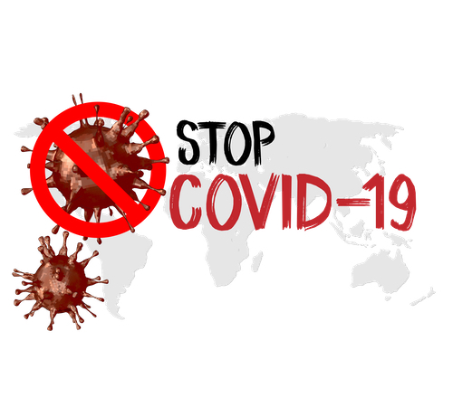 """A """"STOP-COVID 19"""" graphic across a world map"""