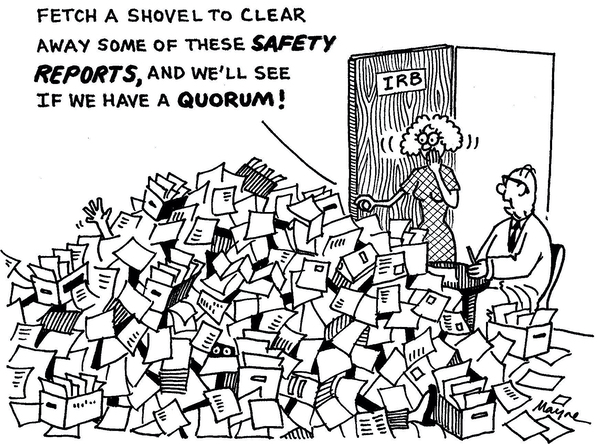 Cartoon of research ethics committee buried by Safety Reports and the Chair asking for a shovel, so he can tell if the meeting is quorate.